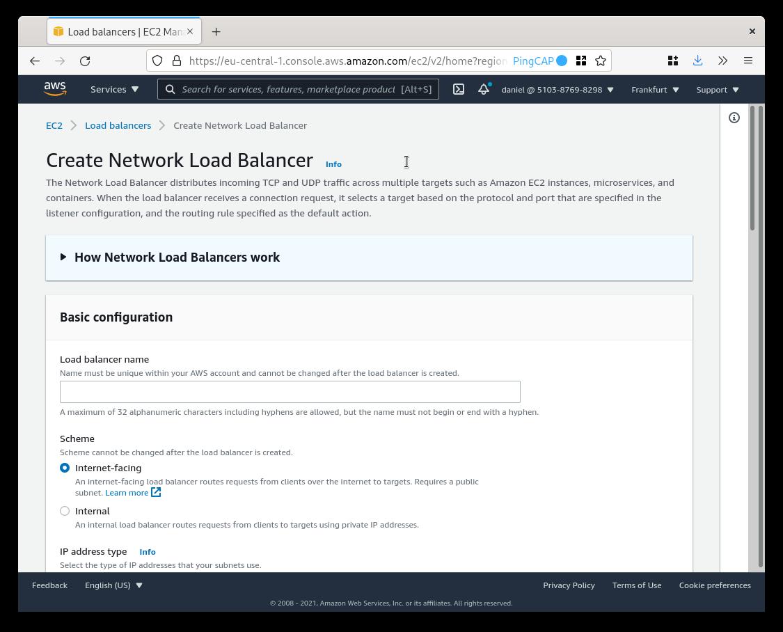 AWS EC2 Create Network Load Balancer
