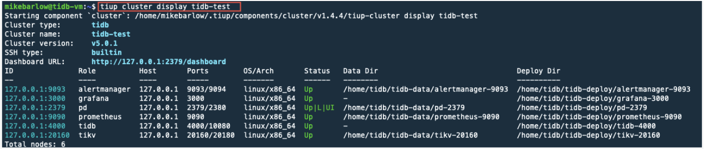Details of the tidb-test cluster