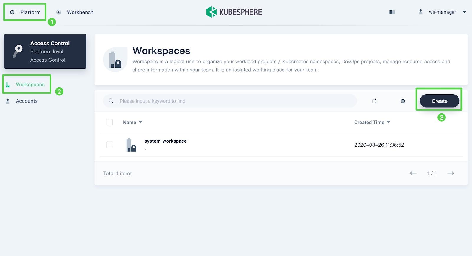 Create a new workspace