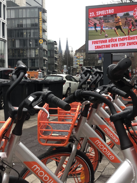 Mobike on the streets of Cologne, Germany