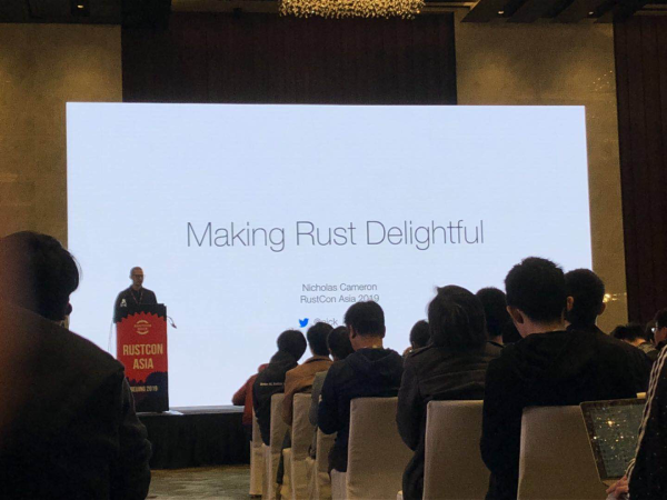 Nick Cameron is making an opening remark at RustCon Asia
