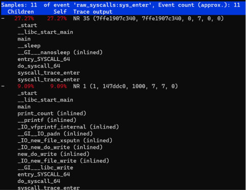 Stack information of system calls with high latency