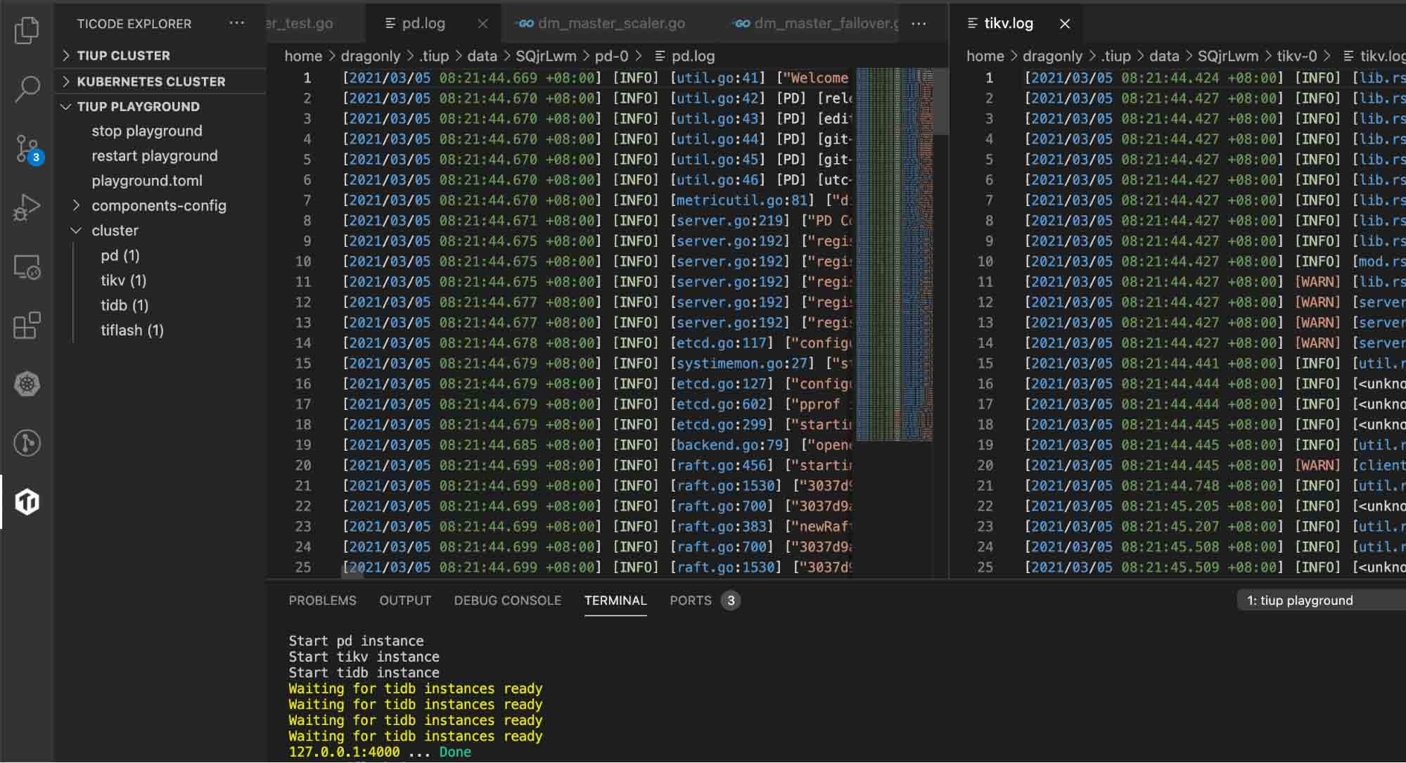 Analyzing TiDB logs in VS Code