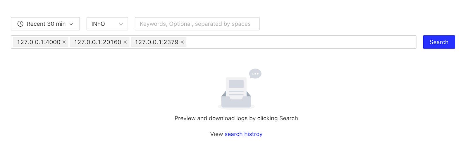 Log Search Page