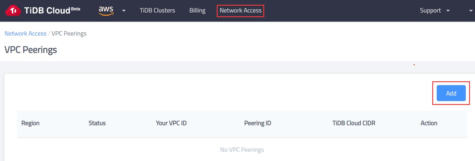 TiDB Cloud Network Access